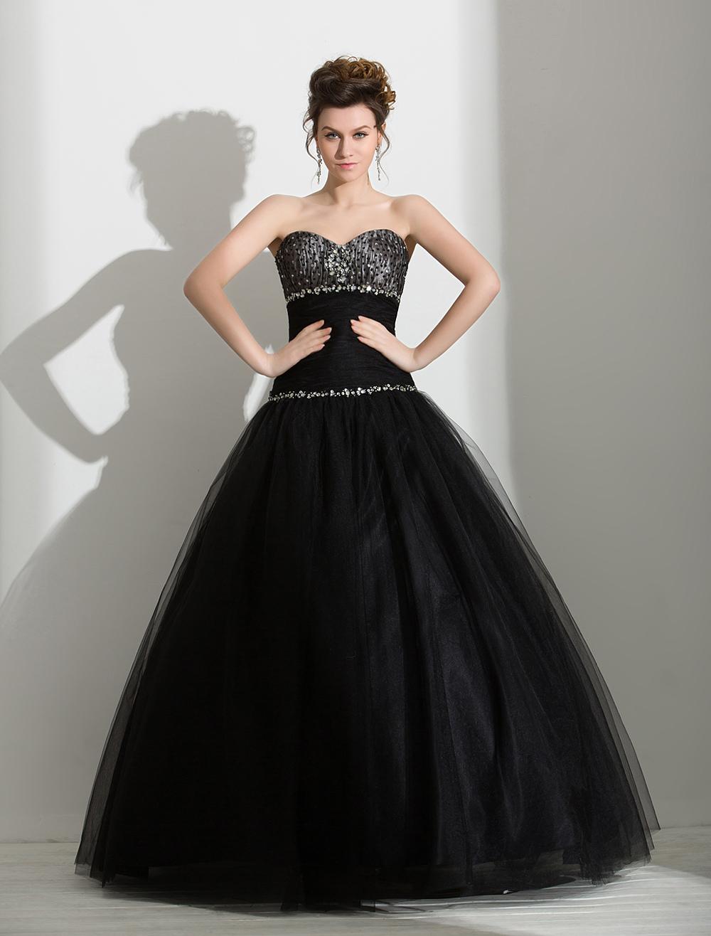 Black Wedding Dress Rhinestone Beaded Sweetheart Organza Floor-Length Ball Gown