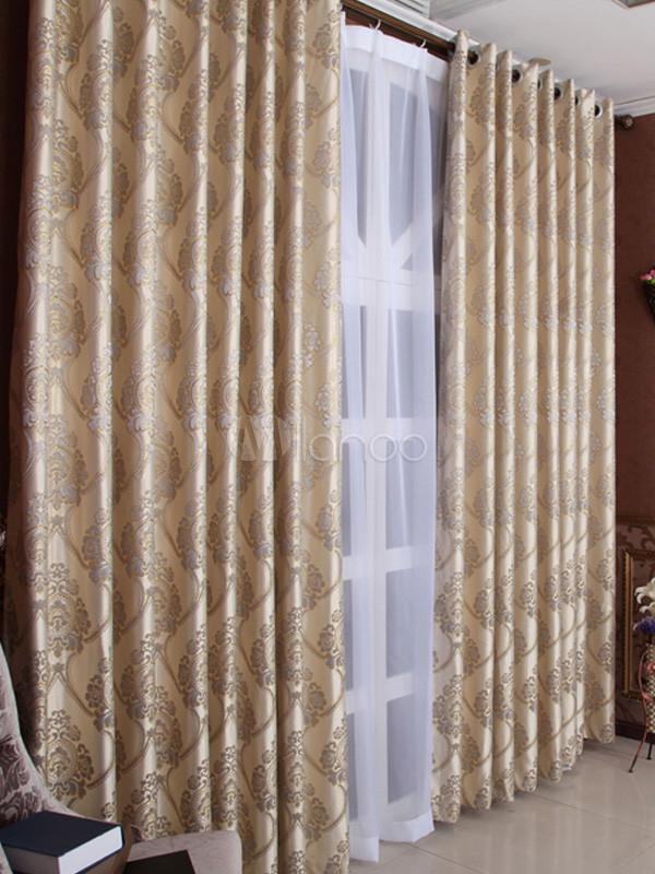 cortinas opacas moderno polister jacquard beige no1 - Cortinas Beige