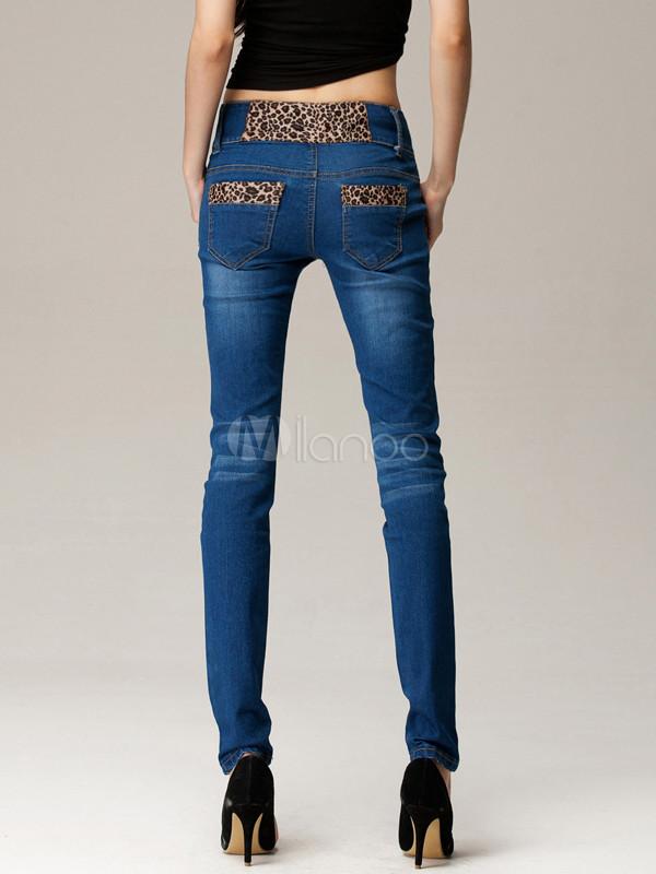 edbbd86d28bca ... Charmant jean pour femme slim sexy à taille basse en denim bleu  conception antique -No ...