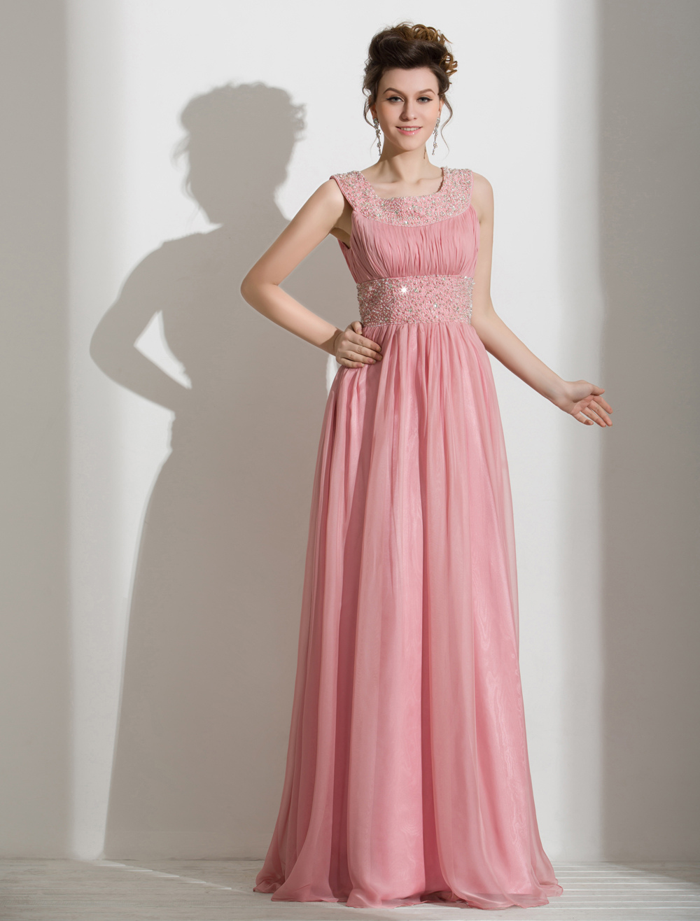 Romantic A-line Chiffon Beading Straps Neck Floor-Length Prom Dress