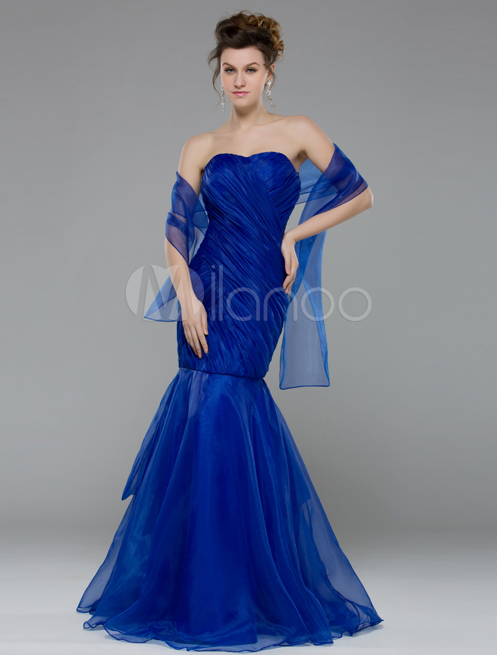 Mermaid Royal Blue Organza Prom Dress with Strapless Design