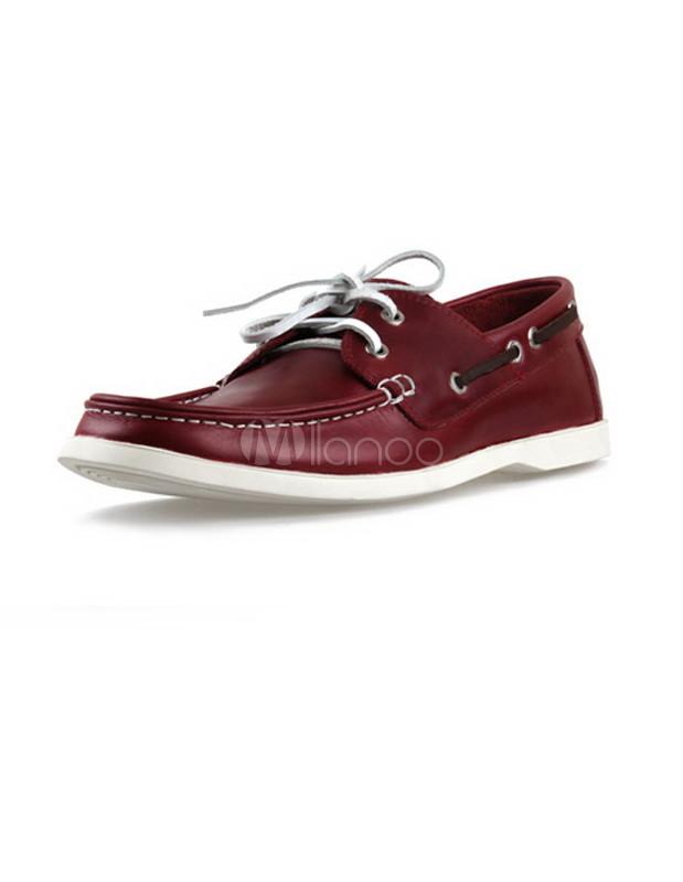 à en Modernes chaussures pour bateau peau vache de lacets bordeaux jqcLR34S5A