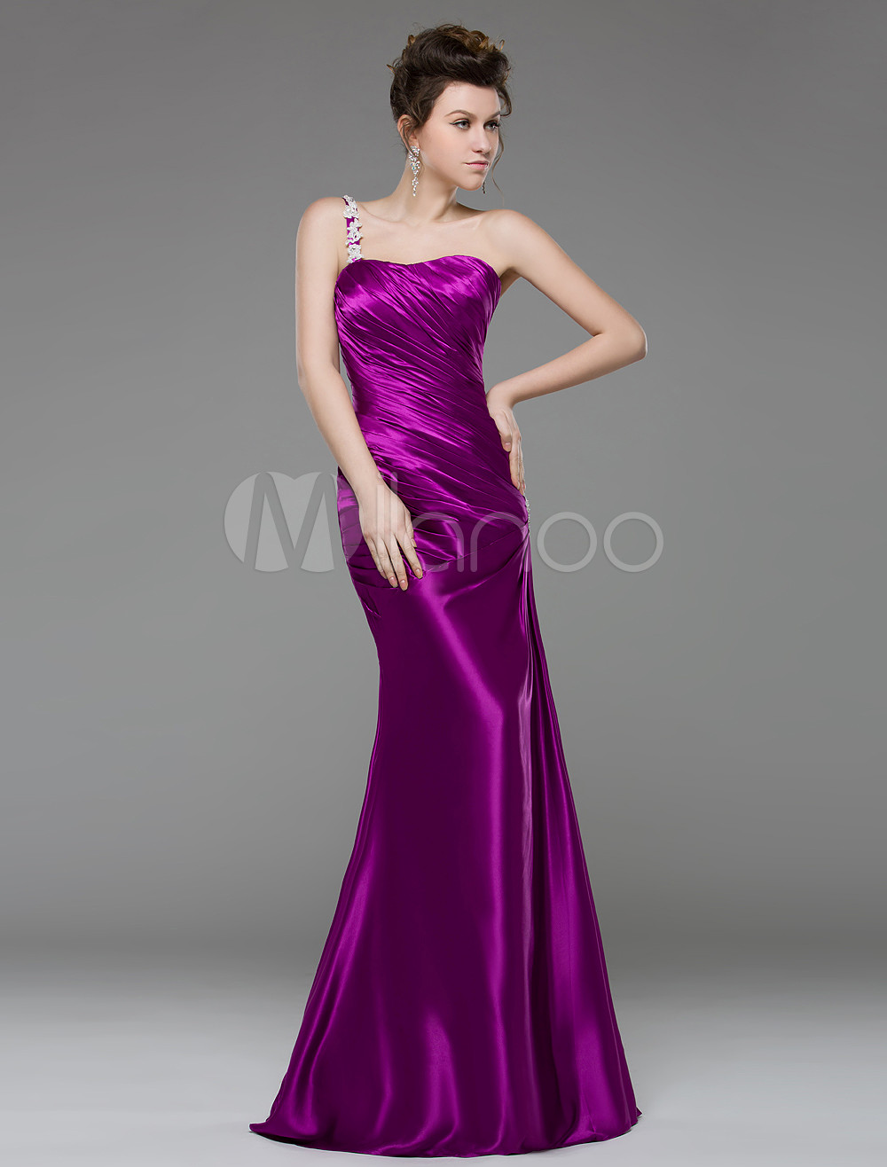 25d1609e4b5 Magenta Evening Dress Mermaid One Strap Prom Dress Ruched Sweep ...