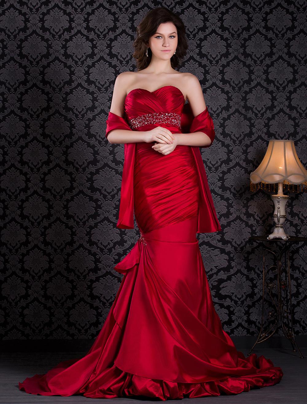 Mermaid Strapless Taffeta Prom Dress with Beading