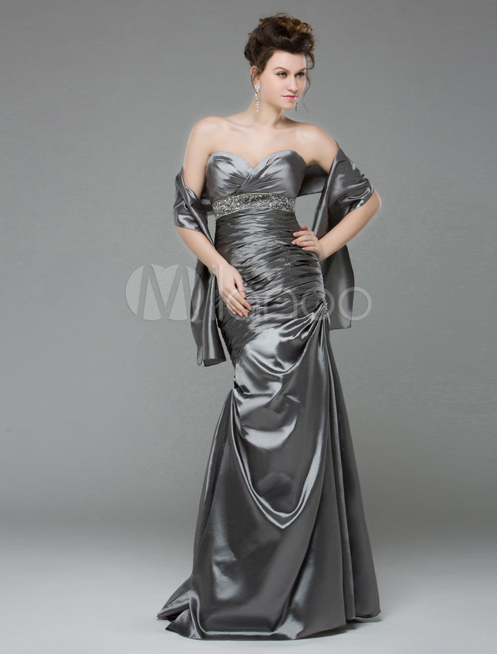 Mermaid Silver Beading Strapless Floor-Length Prom Dress