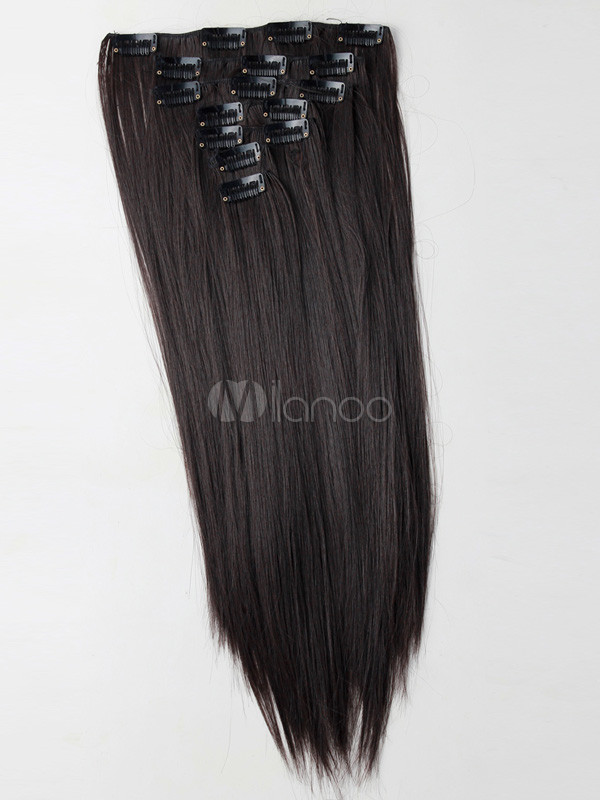 Brown Long Straight Synthetic Hair Extensions For Women