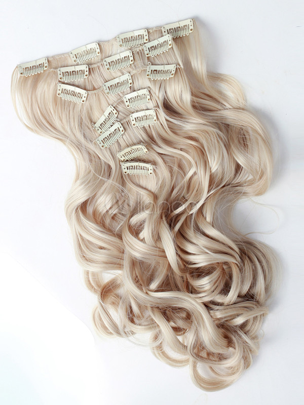 Gold Long Curly Synthetic Hair Extensions For Teen Girls