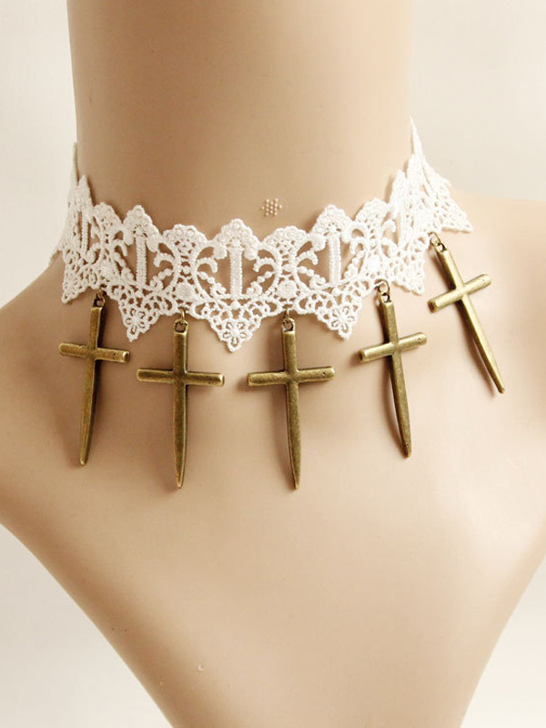Buy Classic White Cotton Cross Fashion Lolita Necklace for $11.19 in Milanoo store