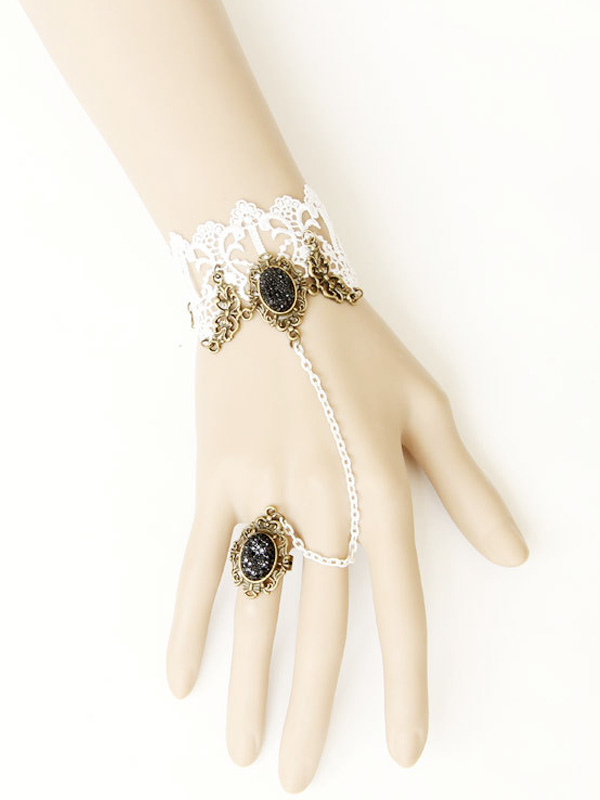 Buy White Cotton Floral Fashion Lolita Bracelet for $9.59 in Milanoo store