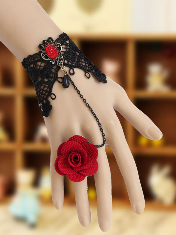 Buy Black Woven Lolita Bracelet with Pendant with Red Flower Ring for $12.59 in Milanoo store