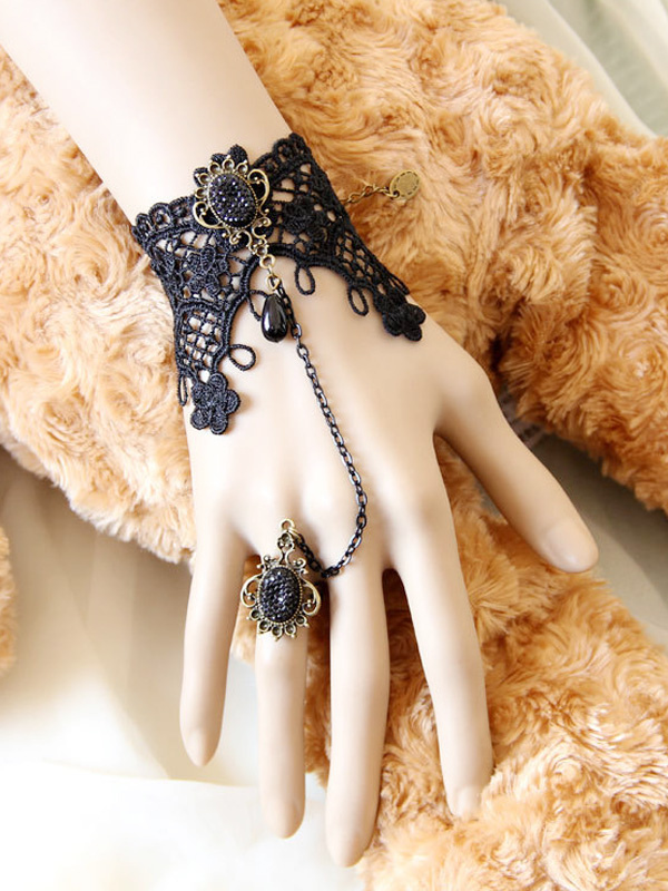 Buy Gothic Black Woven Lolita Bracelet Pendant Metal Chain with Ring for $14.39 in Milanoo store