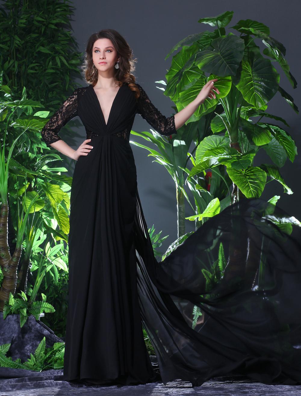 Elegant Black Chiffon Cut Out V-Neck Sexy Evening Dress  Wedding Guest Dress Milanoo