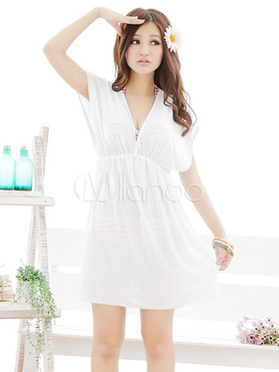 sexy white oversized chiffon v neck women 39 s cover up. Black Bedroom Furniture Sets. Home Design Ideas