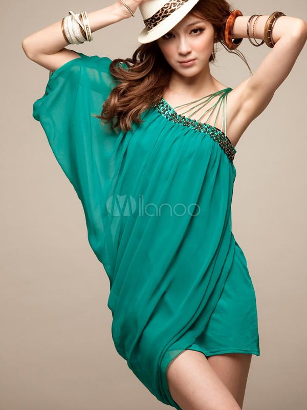 official photos dfe4e 44fd4 Abito corto sexy in cotone verde con monospalla a pieghe