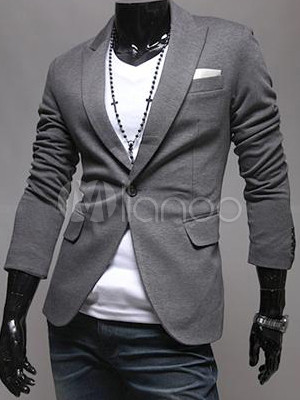 blazer homme en coton gris unicolore avec boutonnage. Black Bedroom Furniture Sets. Home Design Ideas