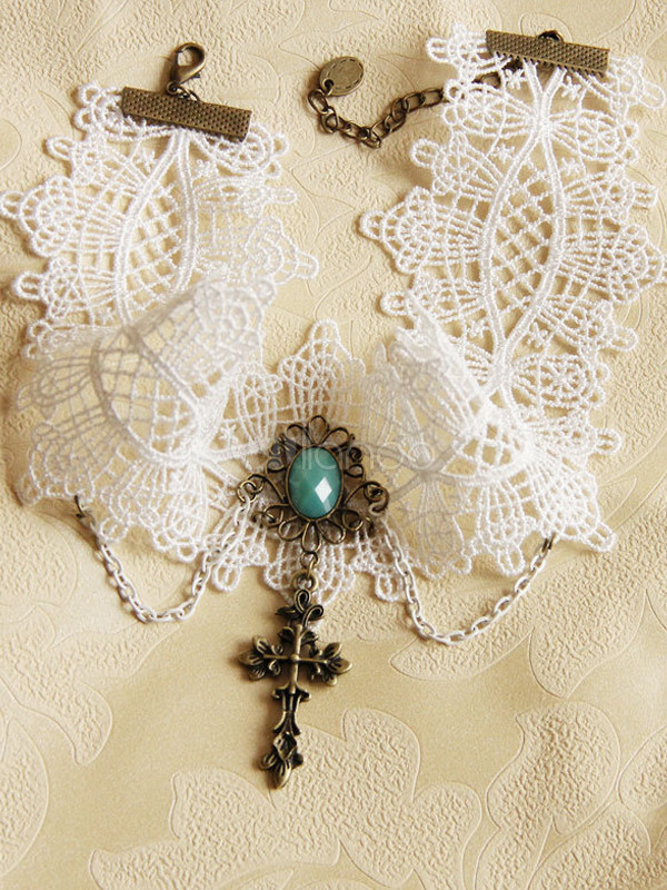 Buy White Cross Cotton Lolita Necklace for $14.39 in Milanoo store