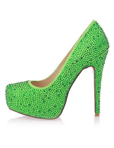 1c9bb1bb4b5 Zapatos verdes de felpa con pedrería - Milanoo.com