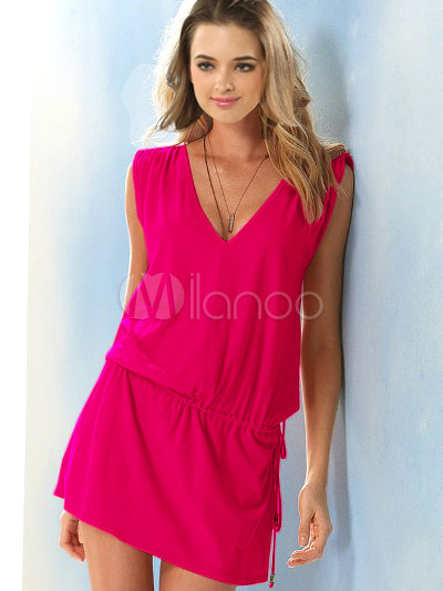 Rose Red Cotton V-Neck Cover Up For Women Cheap clothes, free shipping worldwide