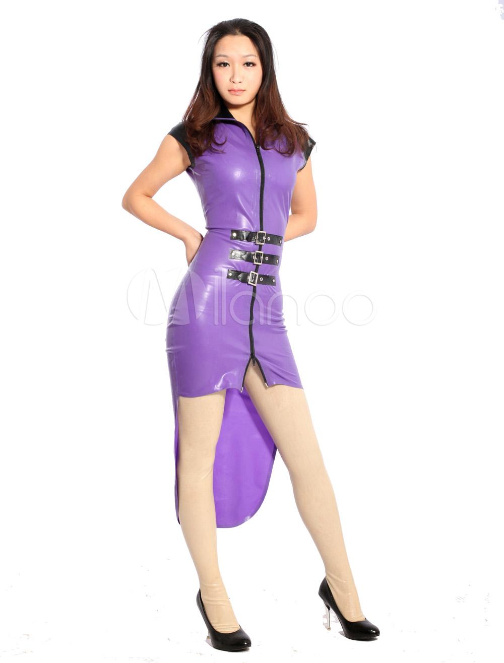 Halloween Multi Color Tuxedo Unisex Tunic Latex Dress Halloween