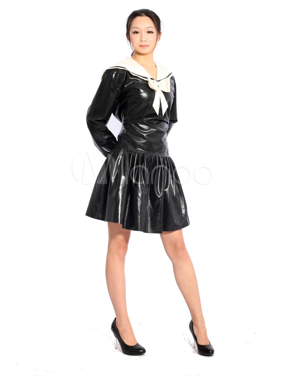 Halloween Black Latex Catsuit Sexy Navy Girl Dress Halloween