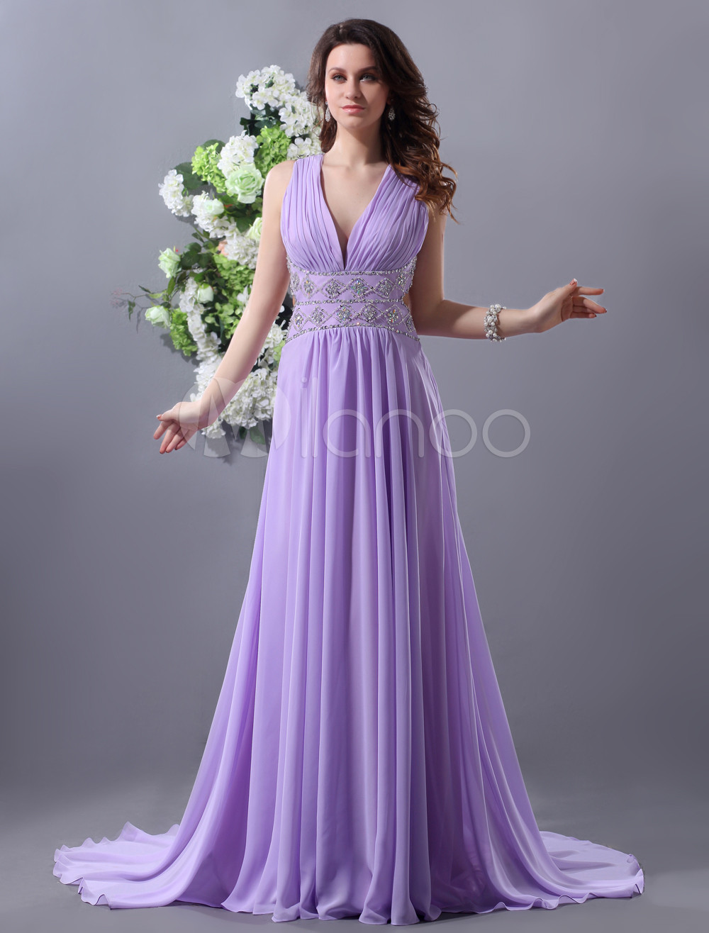 Lilac Evening Dress V Neck Sleeveless Chiffon Formal Dress Beading Back Design Occasion Dress With Court Train  Milanoo