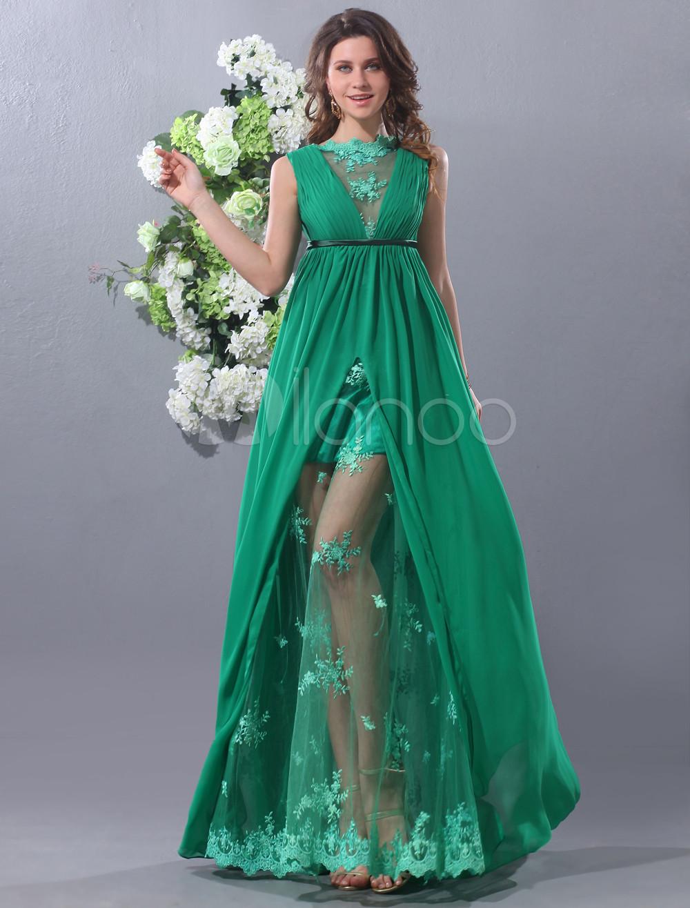 A-line V-Neck Lace Green Chiffon Prom Dress Milanoo