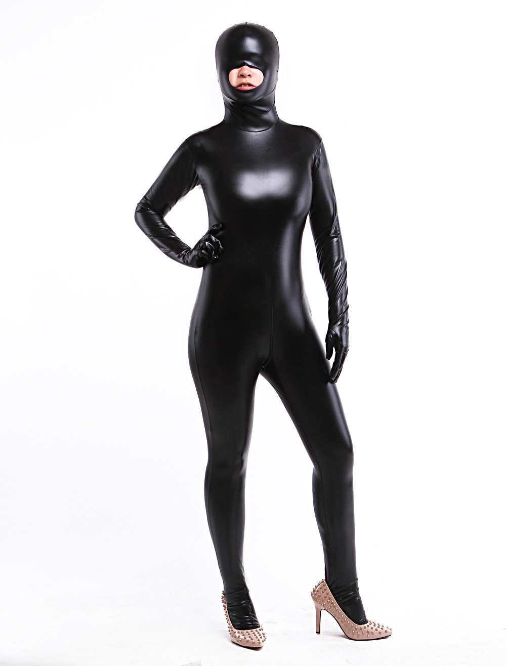 Halloween Crotchless Sexy Shiny Metallic Zentai with Mouth Opened Halloween