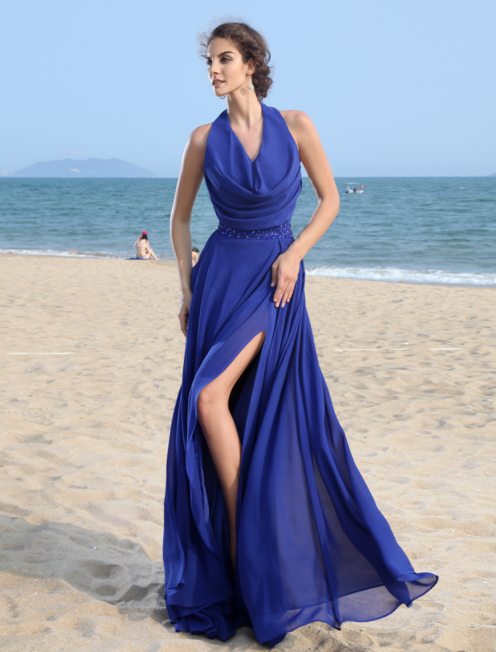 A-line Royal Blue Halter Beading Chiffon Prom Dress