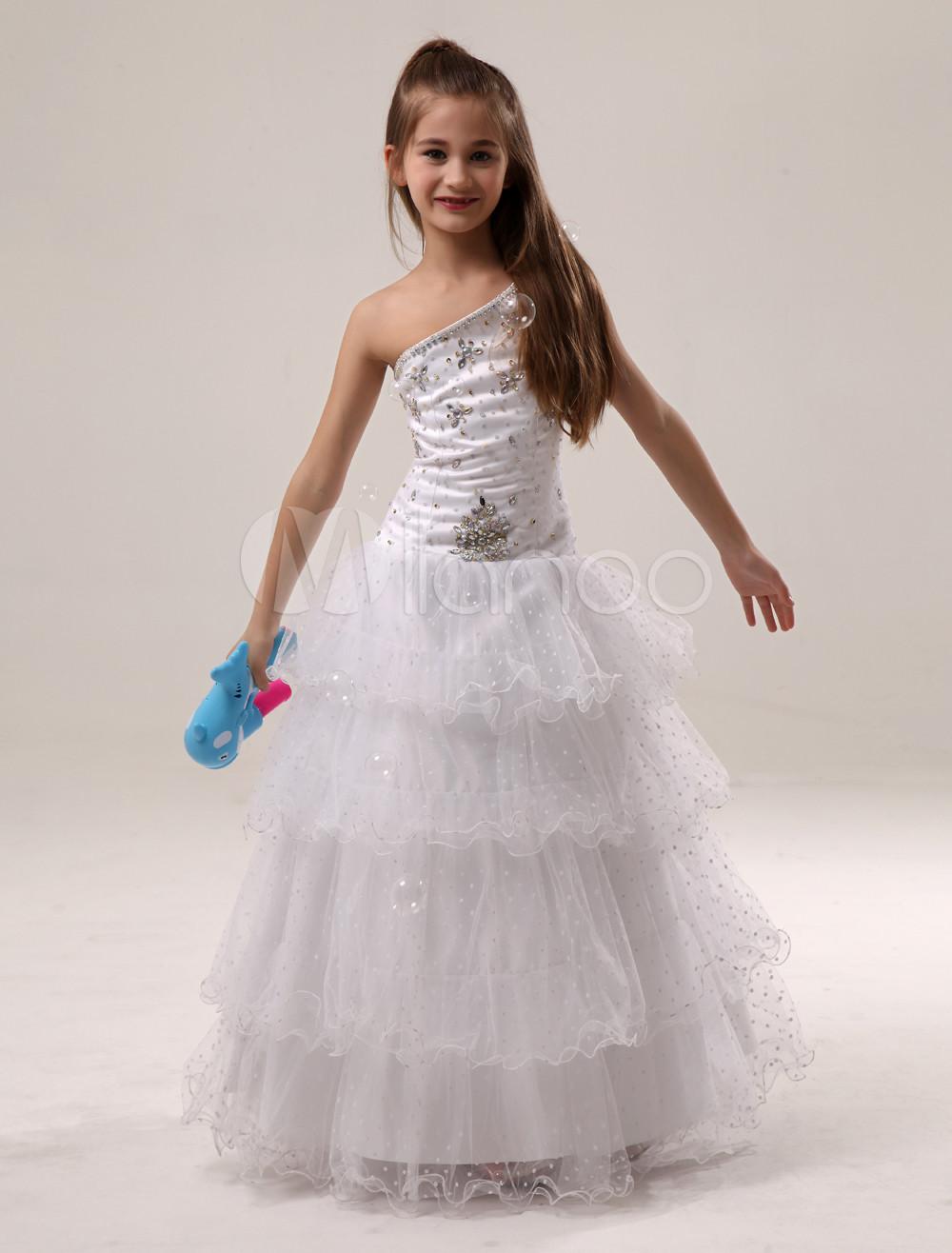 5b82966f17b3 Vestito da bambina bianco a-linea in tulle con perline a terra - Milanoo.com