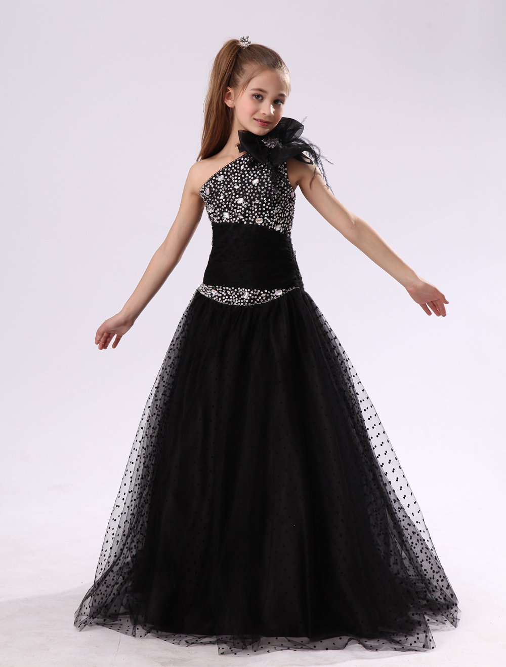 Flower Girl Dresses Black One Shoulder Junior Bridesmaid Rhinestone Beaded Kids Pageant Dress