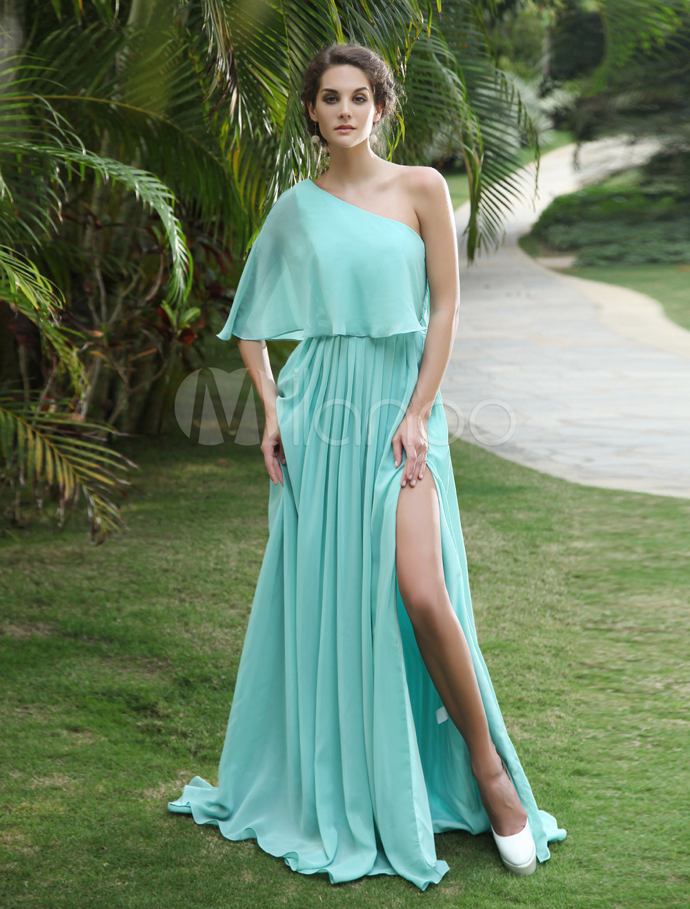 Buy Chiffon Prom Dress Mint Green One Shoulder Evening Dress High Split Floor Length Formal Dress for $143.99 in Milanoo store