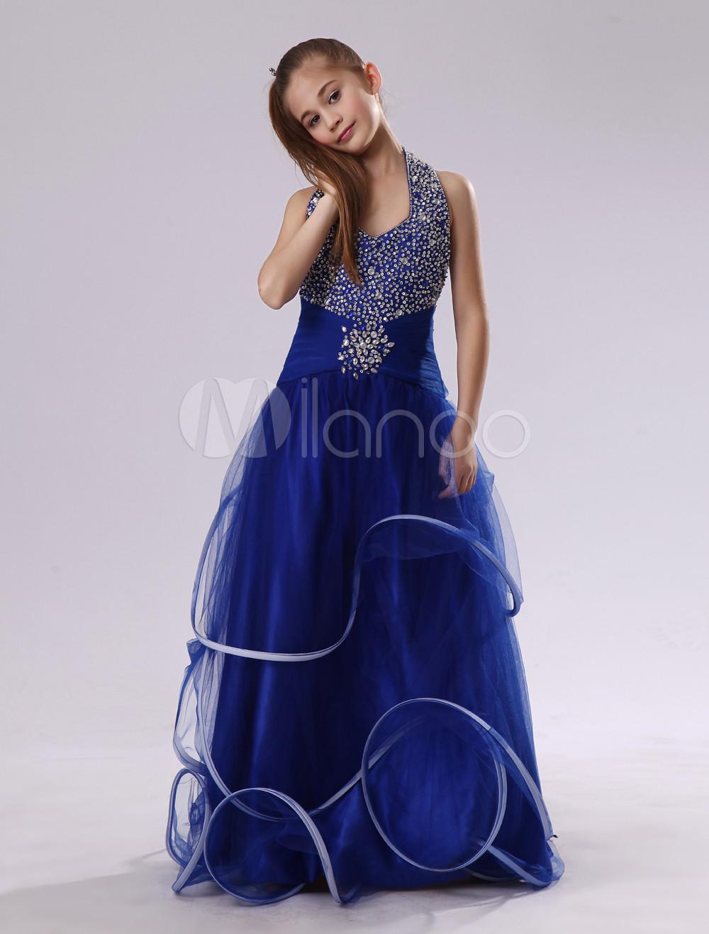 Royal Blue Halter Sequin Flower Girl Dress