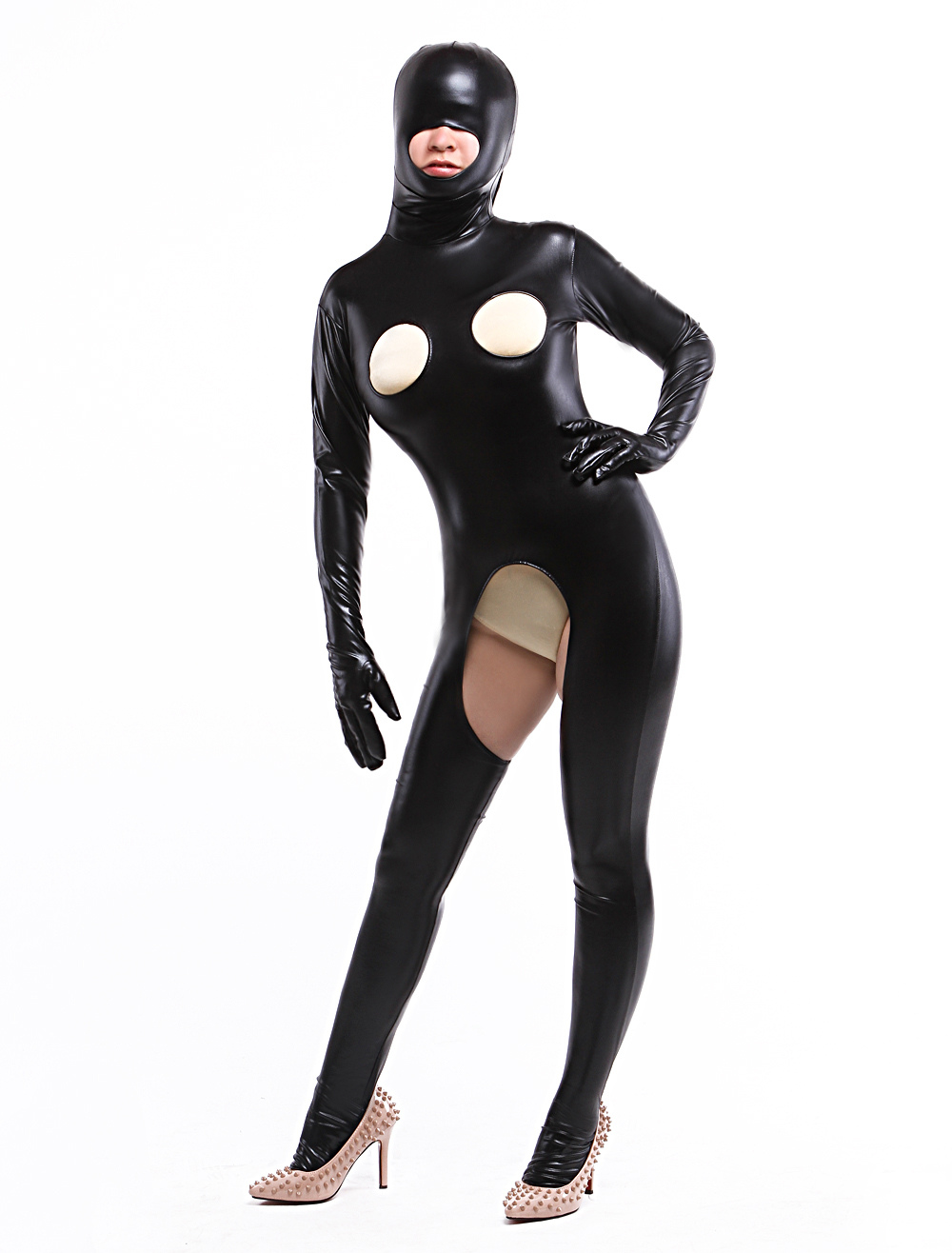 Halloween Black Open Bust Shiny Metallic Clothing Halloween