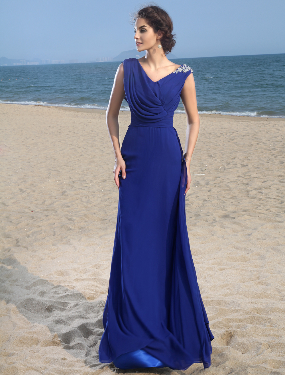 Buy Off-The-Shoulder Royal Blue Chiffon Prom Dress for $159.99 in Milanoo store