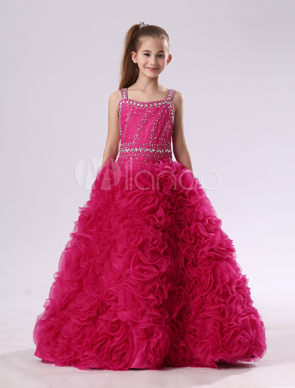 Organza Flower Girl Dress Ball Gown Hot Pink Spaghetti Straps Beading Floor Length Pageant Dress