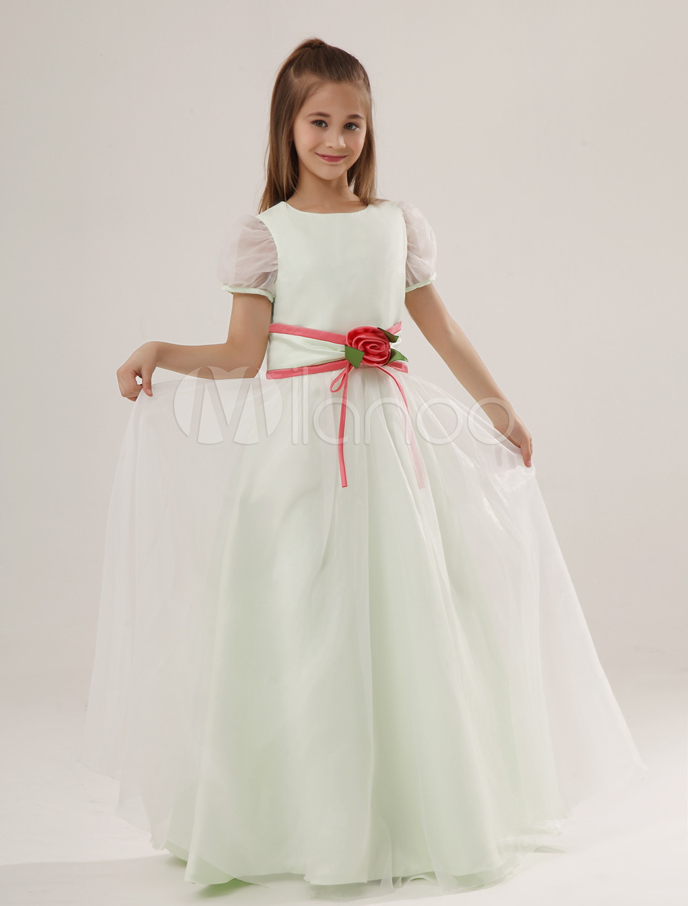 47cf62448b0 Cute A-line Sage Satin Jewel Neck Flower Wedding Flower Girl Dress-No. 12.  25%OFF. Color Mint Green