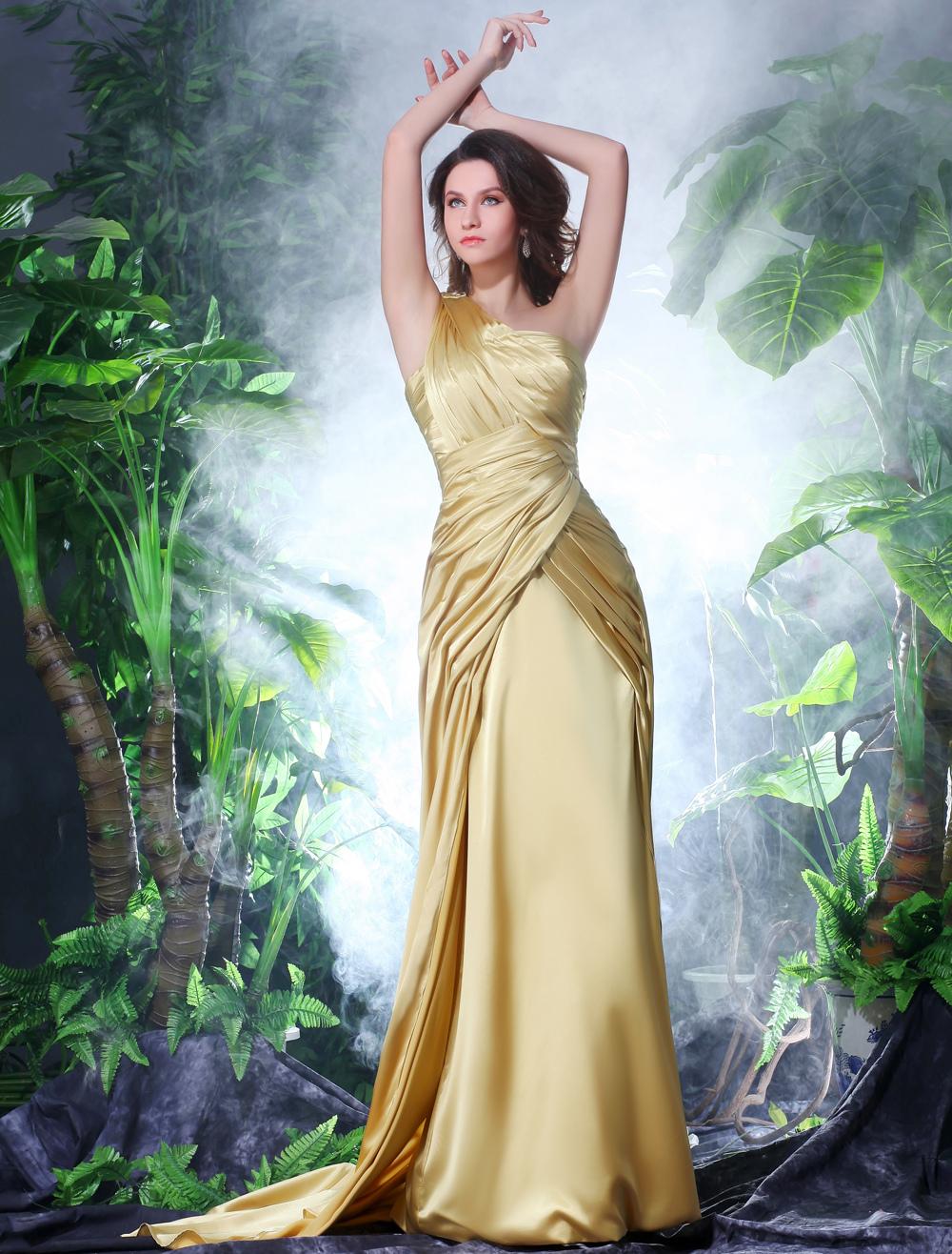 Gold One-Shoulder Sleeveless Pleated Sheath Prom Dress Milanoo