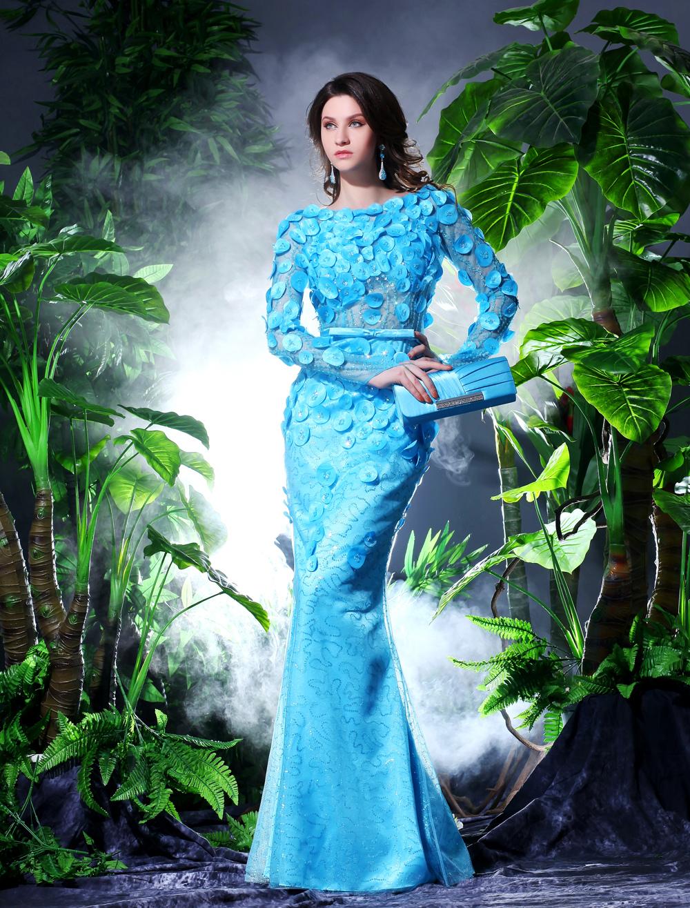 Elegant Mermaid Illusion Bodice Flower Evening Dress Milanoo