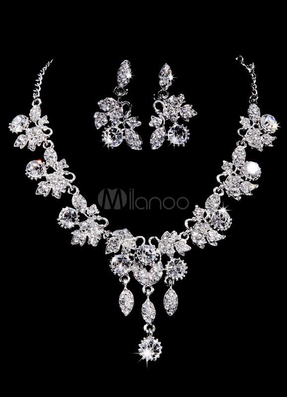 Silver Silver Plated Rhinestone Flower Bridal Jewelry Set