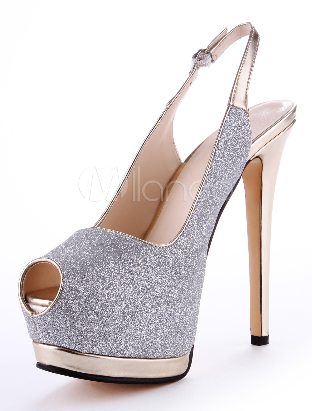 Chic Silver Synthetic Material Glitter Peep Toe High Heels