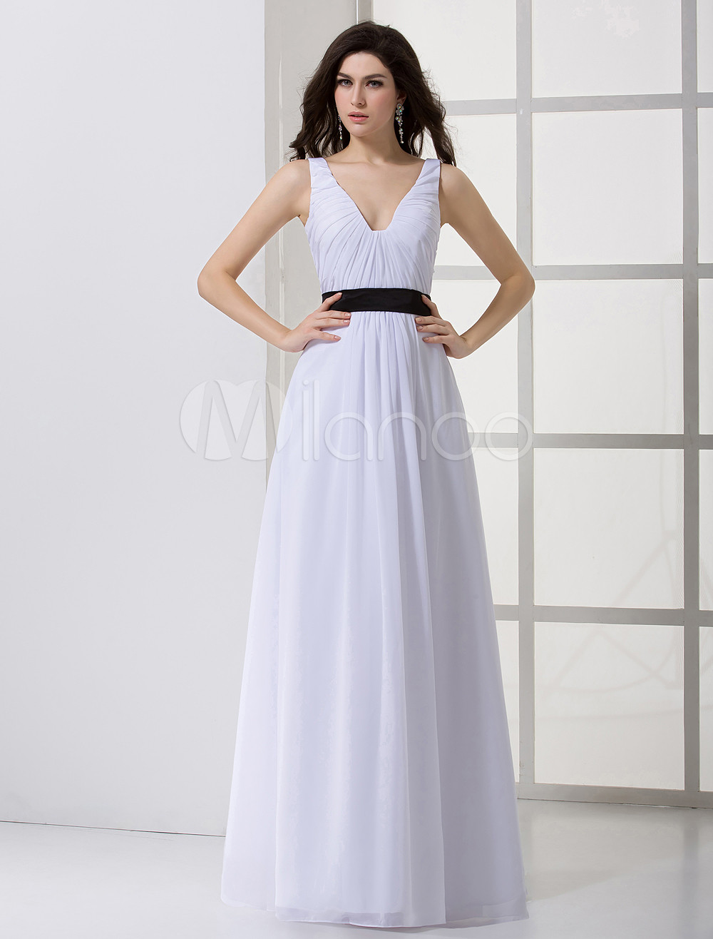 255f2e0d241 Classic White Chiffon Sash V-Neck Women s Evening Dress - Milanoo.com