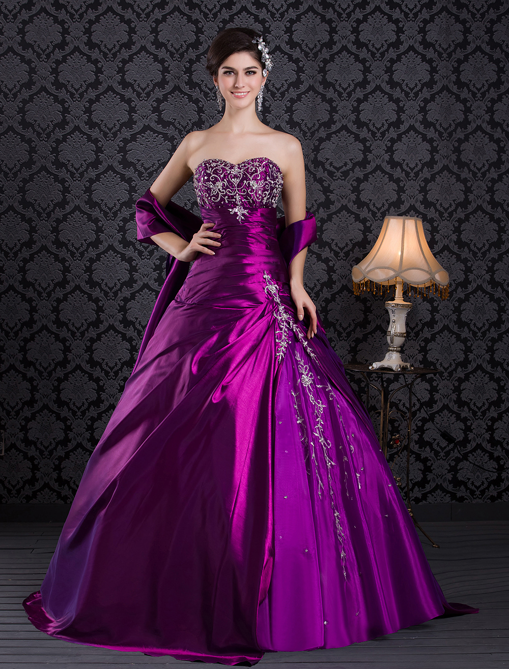 Magenta Pageant Dress Taffeta Sweetheart Strapless  Party Dress Embroidered Beading Ball Gown Occasion Dress