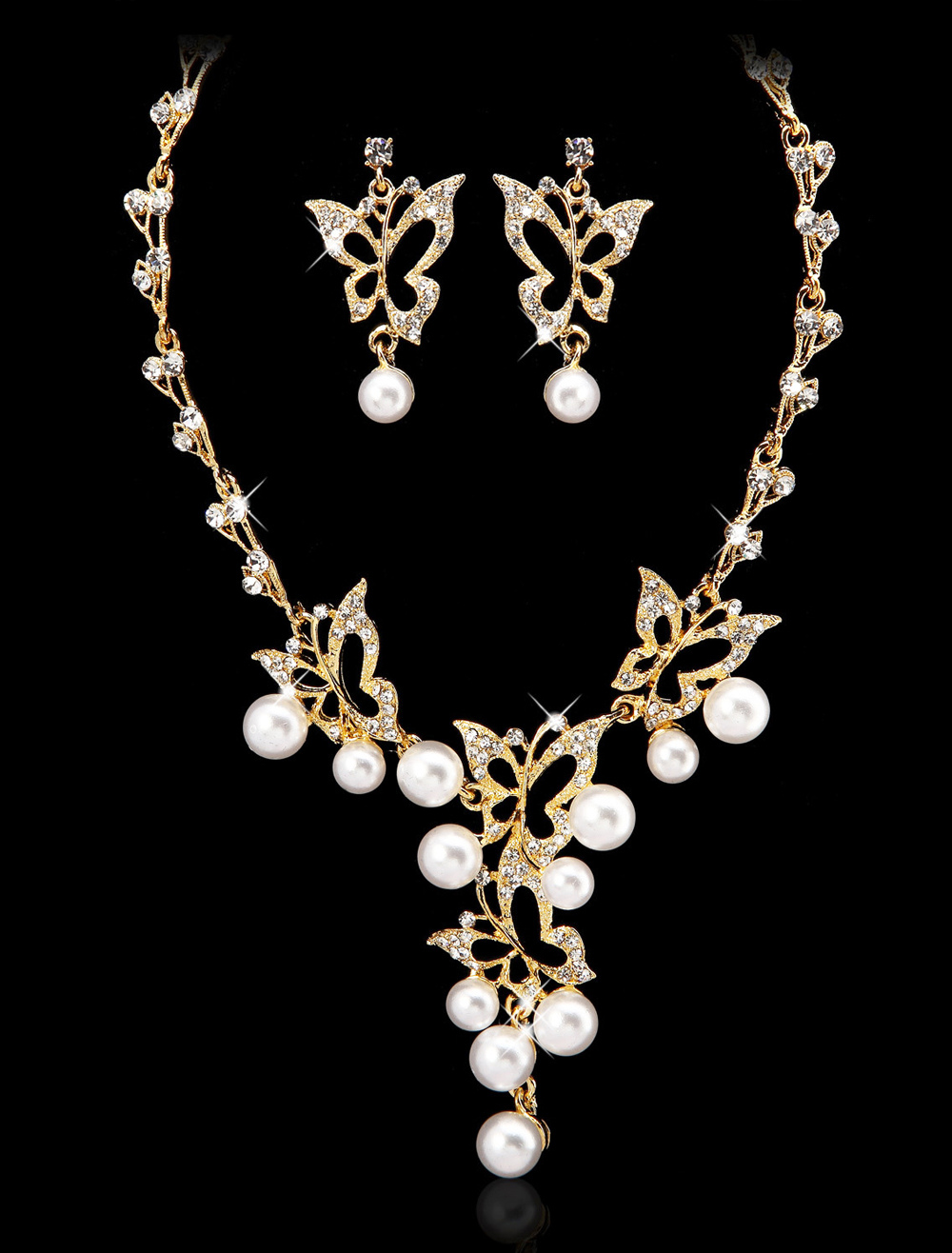 Metal Butterfly Pearl Brides Wedding Jewelry Set