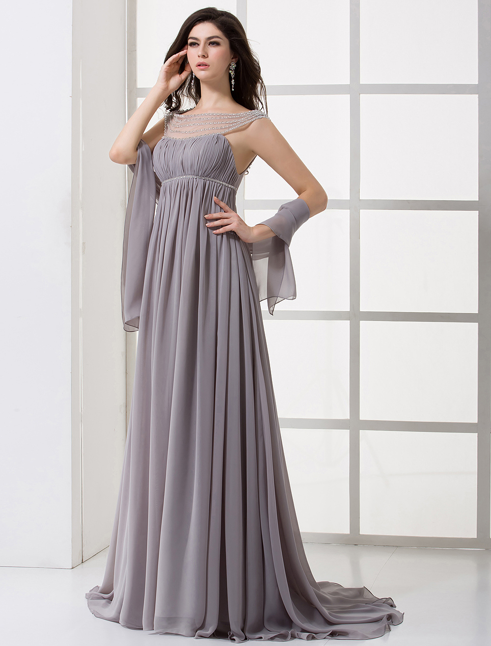 Elegant Lavender Chiffon Pleated High Collar Sexy Evening Dress