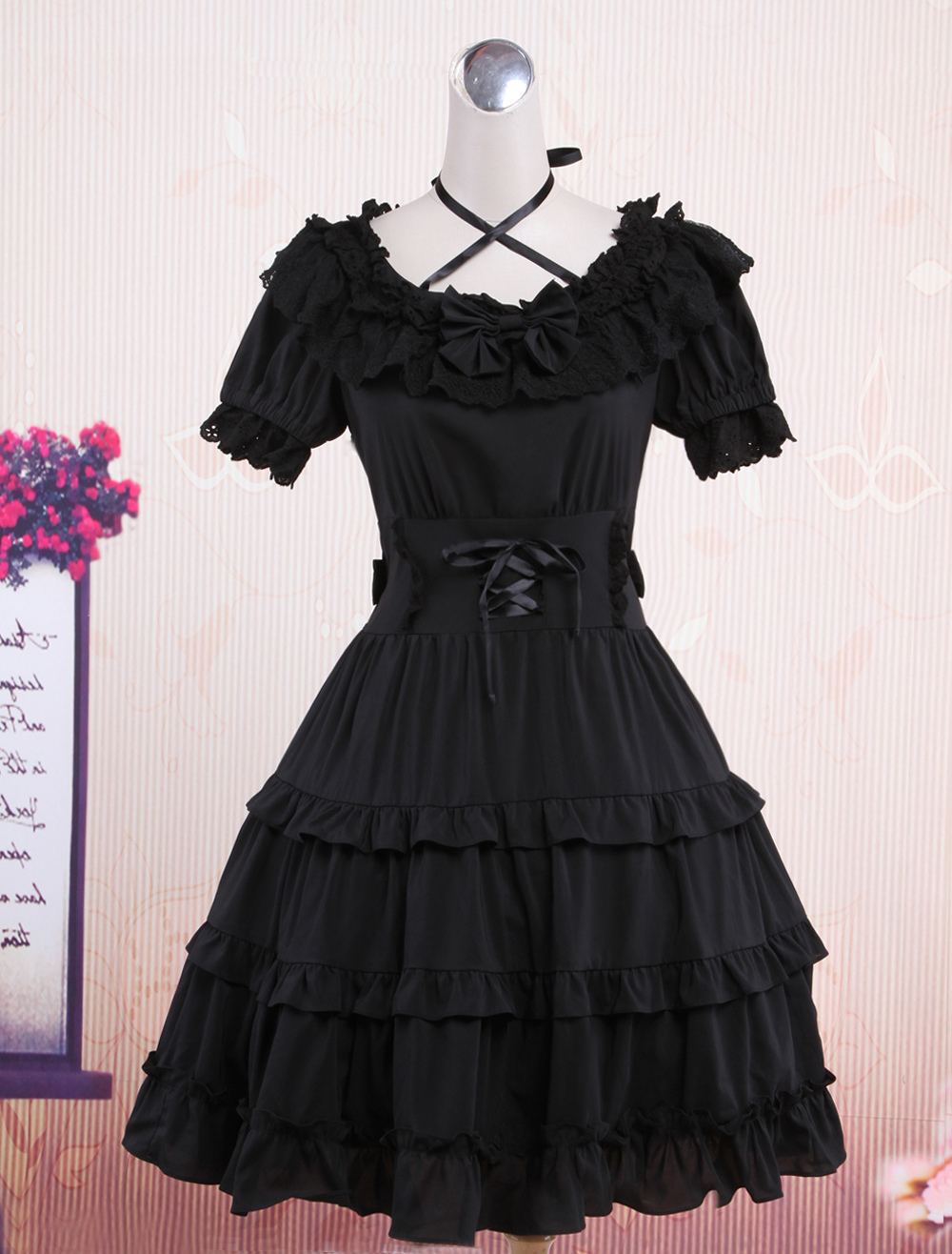 Buy Classic Black Short Sleeves Cotton Cute Lolita One-Piece for $72.19 in Milanoo store