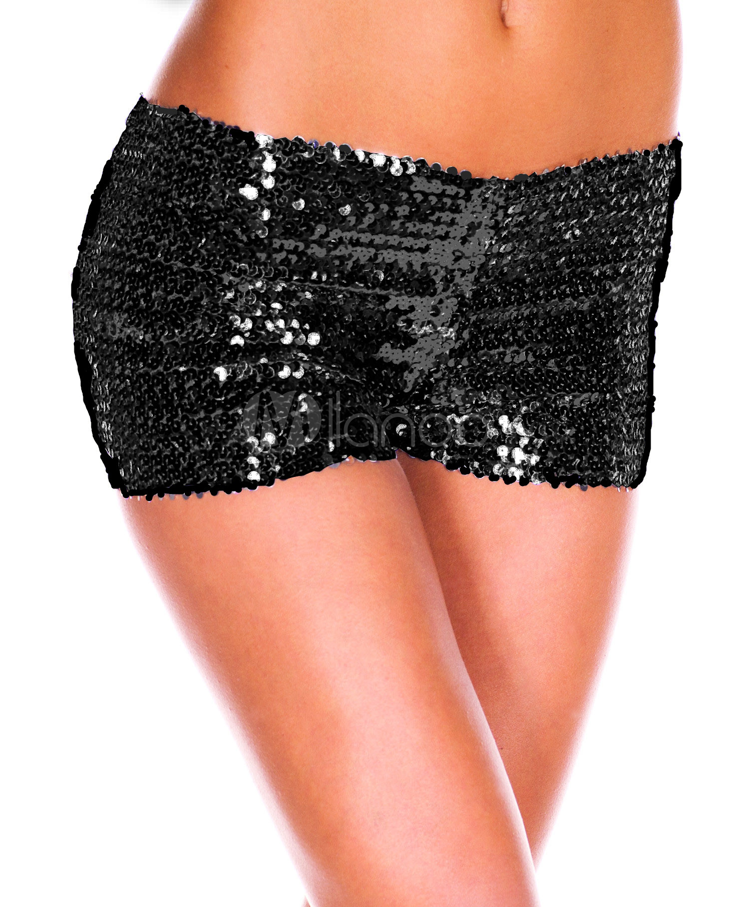 Black Sequined Shorts Cheap clothes, free shipping worldwide