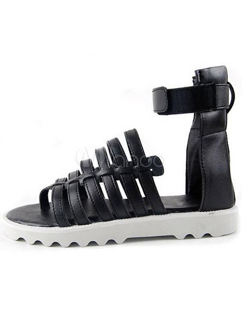 e179b386e1fc89 Stylish Velcro Strappy Cowhide Gladiator Sandals For Men - Milanoo.com