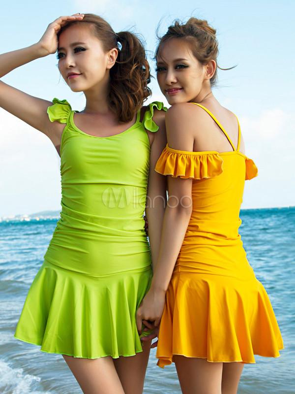 Costume da bagno carino monocolore con bretelle che non cade con pieghettature in lycra spandex - Donne senza costume da bagno ...