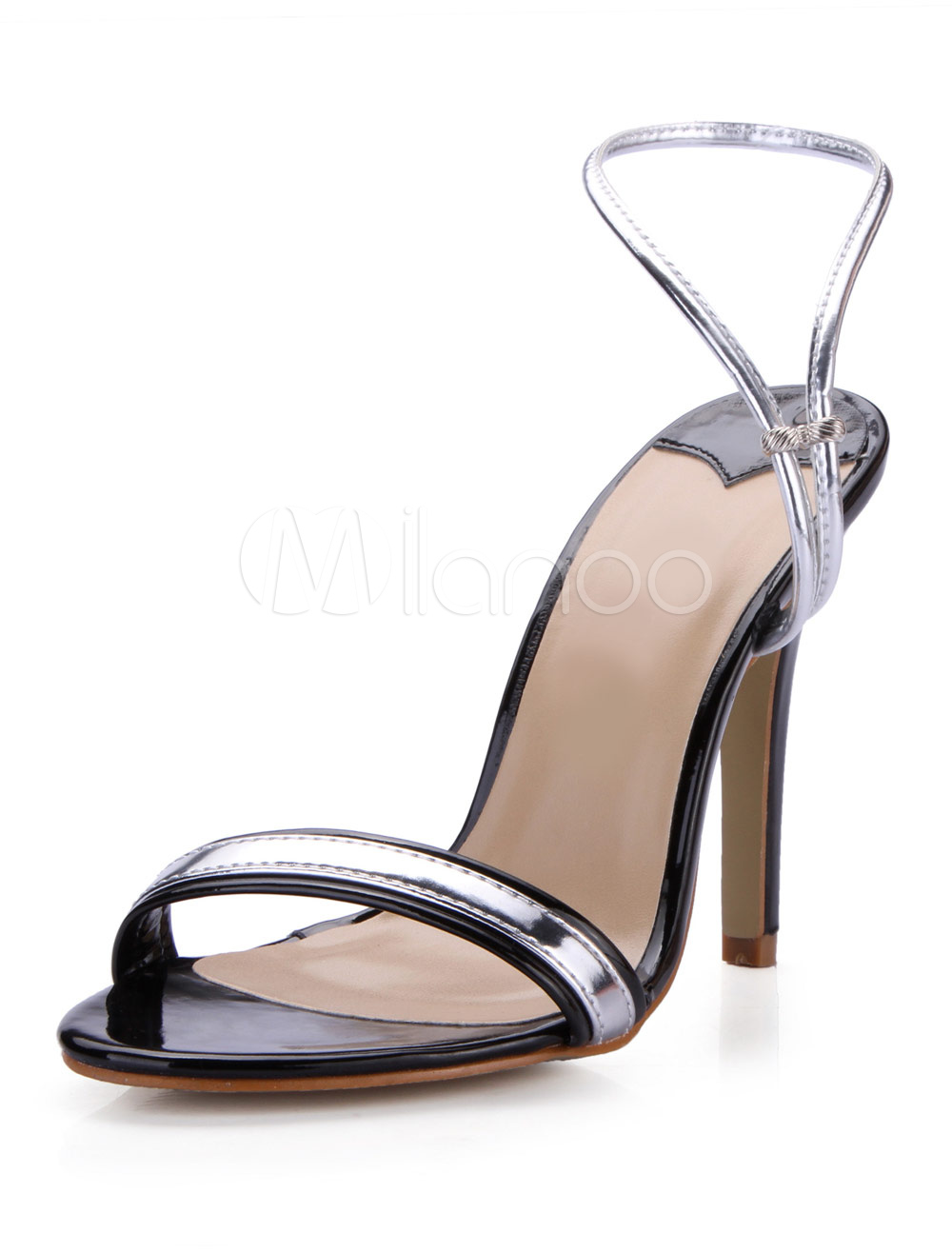 Silver PU Leather Metallic Dress Sandals For Woman