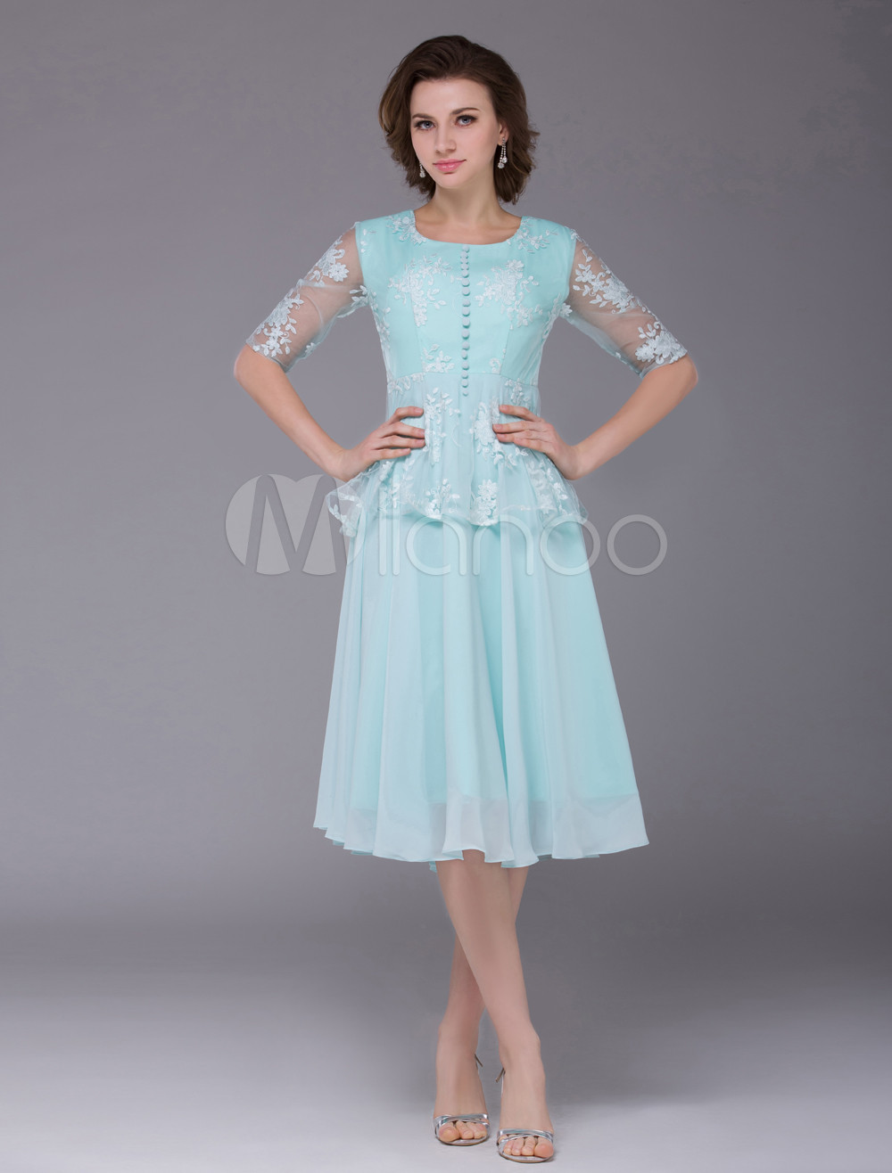 Buy Chiffon Prom Dress Mint Green Round Neck Party Dress Lace Half Sleeve Front Button Cocktail Dress for $121.99 in Milanoo store